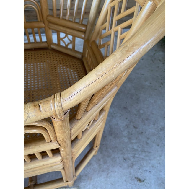 Vintage Brighton Pavilion Style Bamboo and Wicker Weave Table Four Chairs For Sale - Image 6 of 13