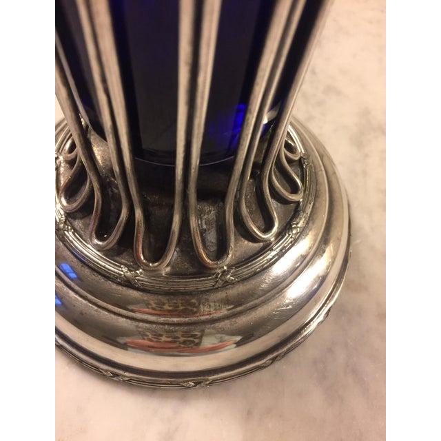Late 19th Century Sheffield Silver Vase With a Cobalt Glass Liner For Sale - Image 5 of 13
