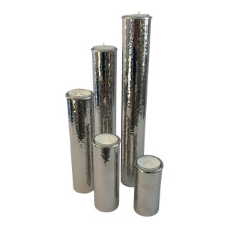 Set Of Five Nickel Candlesticks For Sale