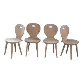 Set of Four Carl Malmsten Dining Chairs in Natural Pine Scandinavian Midcentury For Sale