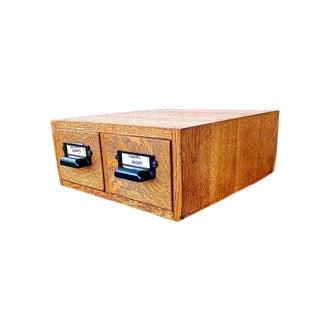 1920s Antique Oak Card Catalog File Cabinet For Sale