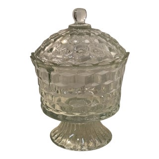 1950s Fostoria American Clear Whitehall Footed Pedestal Candy Dish With Lid For Sale