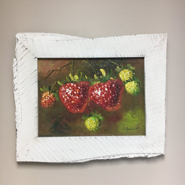 Original still-life oil painting on stretched canvas signed C. Ronnett. Features a custom asymmetrical reclaimed barn-wood...