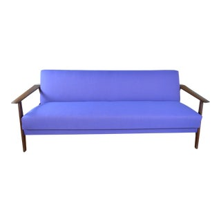 Scandinavian Daybed Sofa in Teak and Purple Wool For Sale
