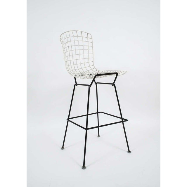 Vintage Harry Bertoia Bar Stools Black and White For Sale - Image 6 of 9