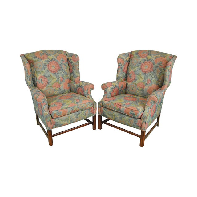 Southwood Chippendale Style Mahogany Frame Floral Upholstered Pair of Wing Chairs For Sale - Image 13 of 13