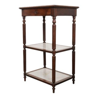 French 19th Century Louis XVI-Style Oak and Marble Three-Tier Etagère For Sale