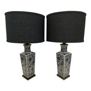 Vintage Modern Asian Style Square Urn Table Lamps - A Pair