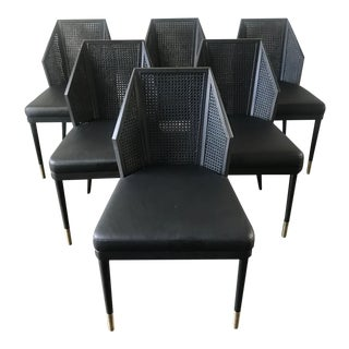 Baker by Kara Mann Black Cane Dining / Side Chairs - Set of 6 For Sale