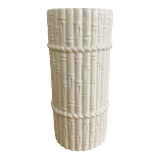 Mid Century White Faux Bamboo Ceramic Umbrella Rack Spain For Sale