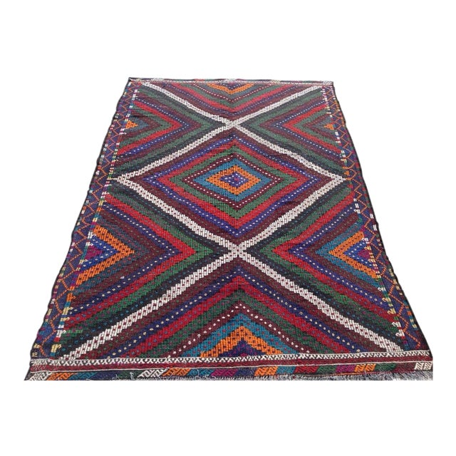 "Vintage Turkish Kilim Rug - 6'9"" x 10'5"" For Sale"