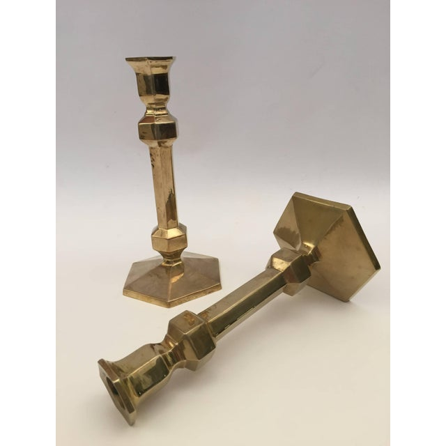 Anglo-Indian Pair of Brass Candlesticks For Sale - Image 3 of 9