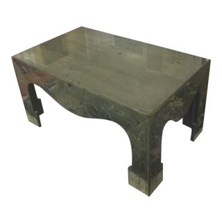 Chinoiserie Style Distressed Mirror Table For Sale