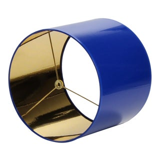 Medium Cobalt Blue Drum Lamp Shade With Gold Lining For Sale