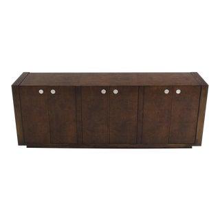 Vintage Dark Burl Walnut Six-Door Credenza Dresser For Sale
