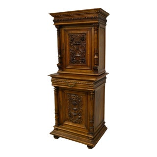 Antique 1800's Carved Walnut Pantry Cabinet