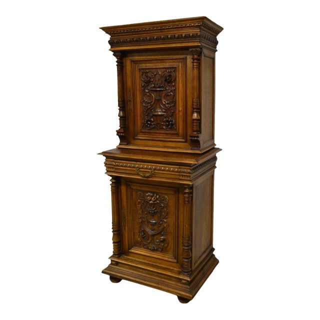 Antique 1800's Carved Walnut Pantry Cabinet For Sale