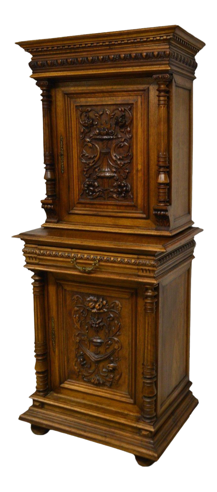 Superieur Antique 1800u0027s Carved Walnut Pantry Cabinet