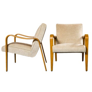 Pair of Mid-Century Wood Armchairs by Thonet For Sale