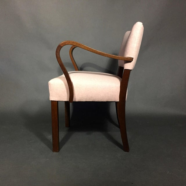 Felt 1940s Armchair in Dark Stained Oak, Felted Wool Upholstery For Sale - Image 7 of 10