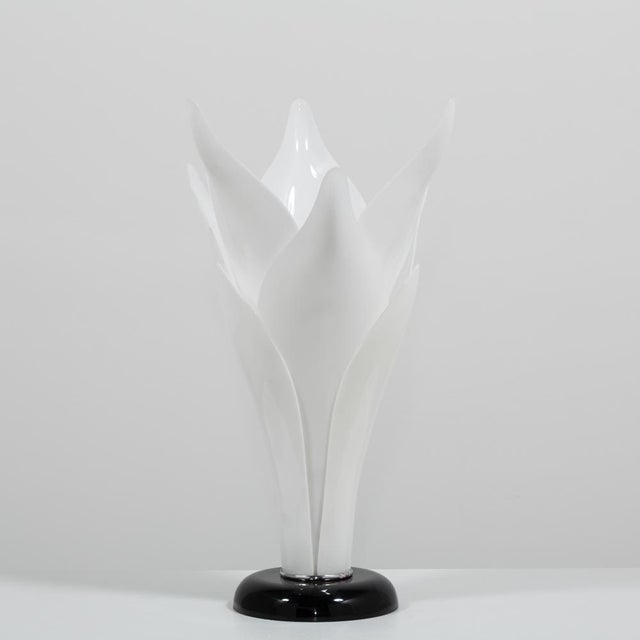 A Single Tulip Shaped Acrylic Lamp attributed to Rougier late 1970s