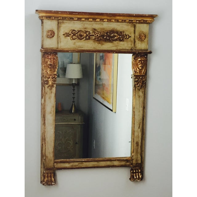 Great size and style! Carved and Parcel Gilt Mirror. France, 19th century.