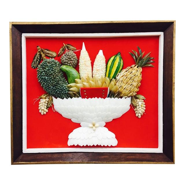 Vintage Folk Art Seashell Fruit Basket Painting in Frame For Sale