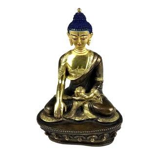 Shakyamuni Buddha Gold & Bronze Nepalese Figurine For Sale