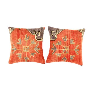 Vintage Turkish Pasargad Hand Knotted Rug Pillow- Pack of 2 For Sale