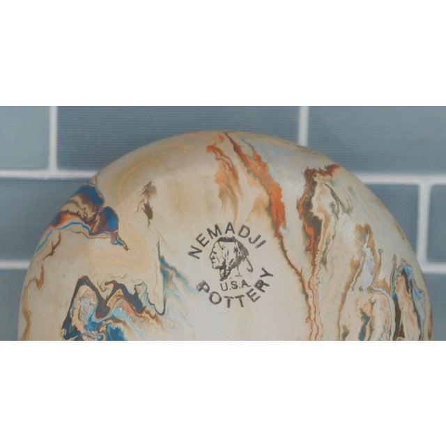 Mid Century Nemadji Pottery Blue Swirl Hanging Planter For Sale - Image 4 of 6