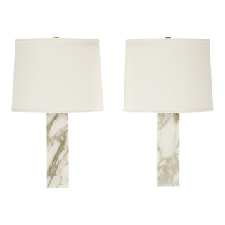 1960s T. H. Robsjohn- Gibbings Marble and Brass Table Lamps, Model #303 With Shades - a Pair For Sale