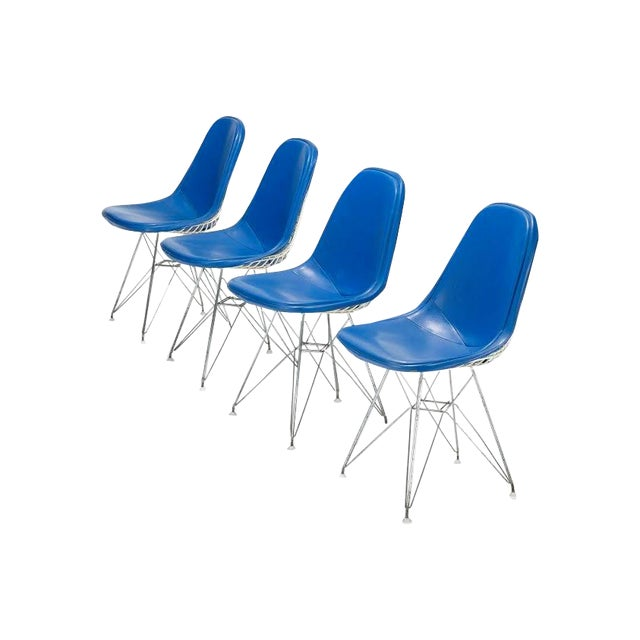 Blue Eames DKR-1s Dining Chairs - Set of 4 - Image 1 of 4