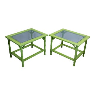 Green Lacquered Side Tables - A Pair For Sale