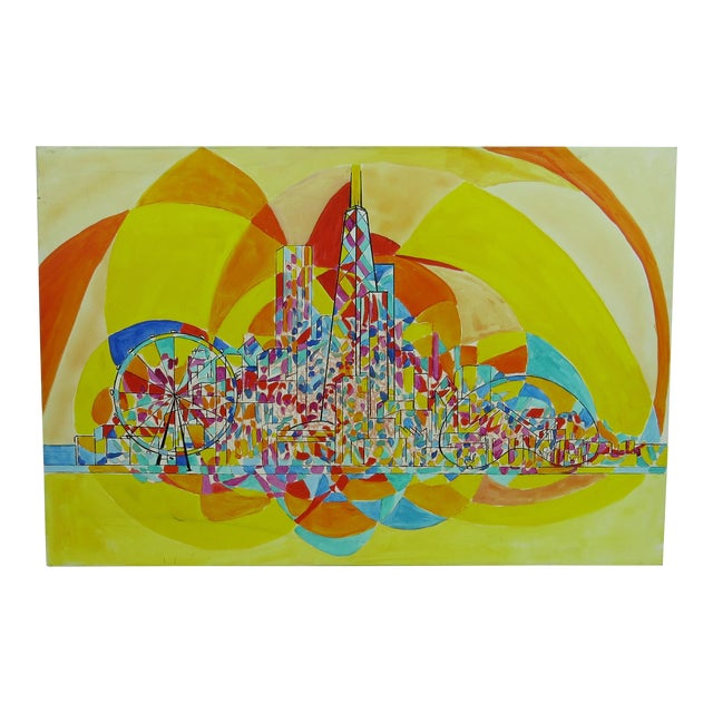 2013 Pia Bacca Post Impressionist Oil on Canvas of Chicago Cityscape For Sale