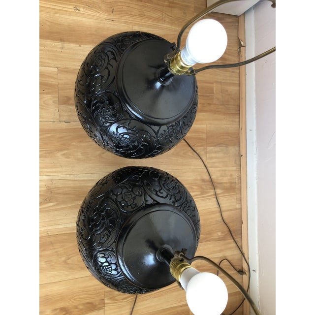 Stunning Pair of Gloss Black, Round Table Lamps With Carved Relief Design For Sale - Image 4 of 11