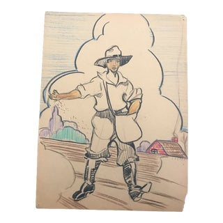 "1940s Evelyn Underwood ""Sower"" Drawing For Sale"