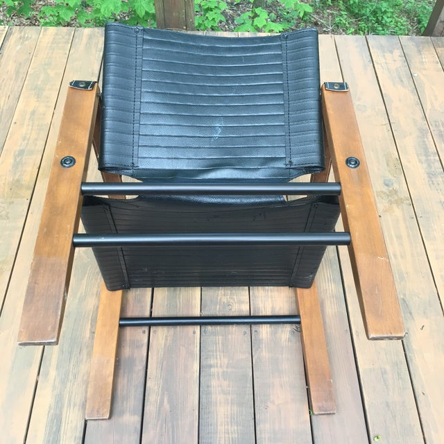 Sirocco Safari Black Vinyl & Leather Arms Chair - Image 8 of 10