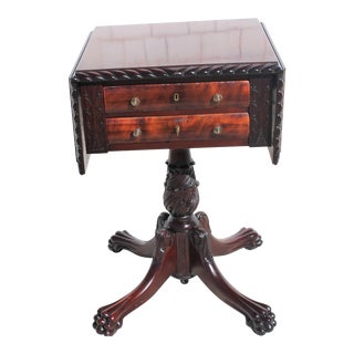 1890s Empire Revival Mahogany Side Table For Sale