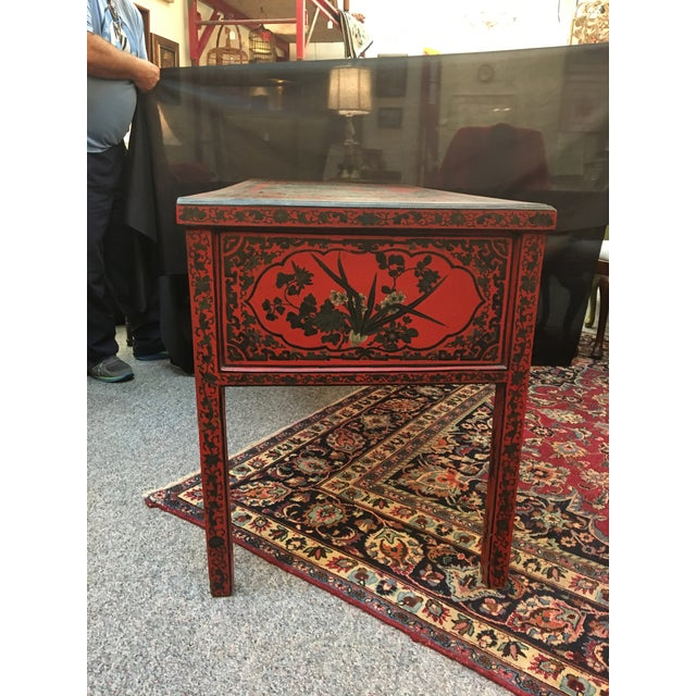 Lacquer Antique Chinese Red Desk For Image 7 Of 9