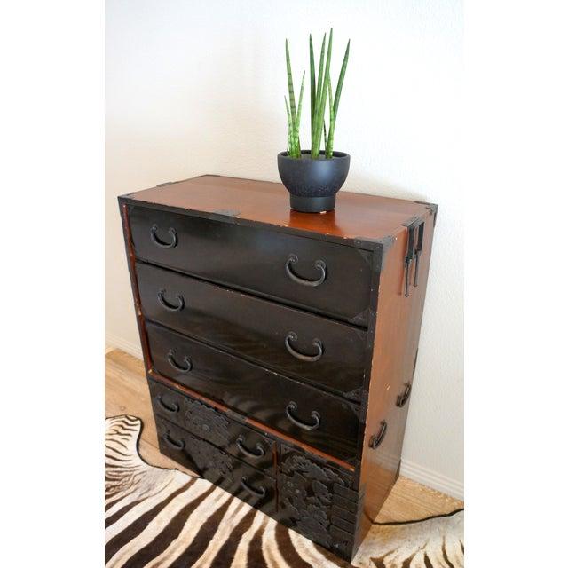 Vintage Black Lacquer Tansu Dresser - Image 4 of 9