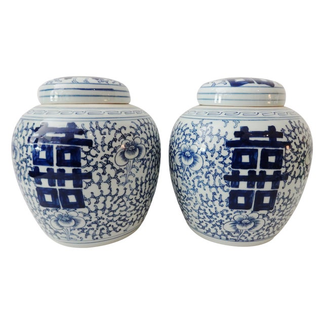 Double-Happiness Ginger Jars - A Pair For Sale
