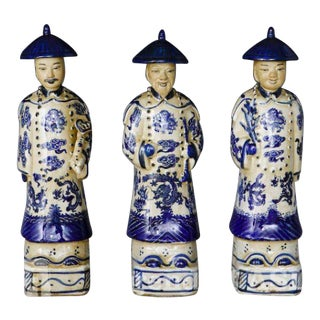Standing Qing Emperors of Three Generations Statues - Set of 3 For Sale