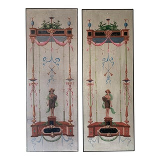 Pair of Vintage Hand-Painted Trompe L'oeil, Neoclassical, Grecian Screens For Sale