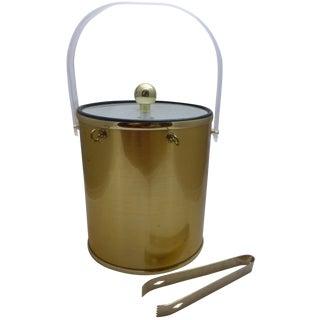 Vintage Hollywood Regency Gold Vinyl Ice Bucket