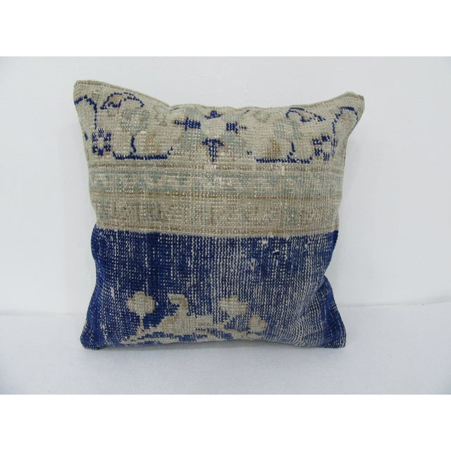 Turkish Navy & Beige Vintage Pillow Cover For Sale - Image 4 of 4