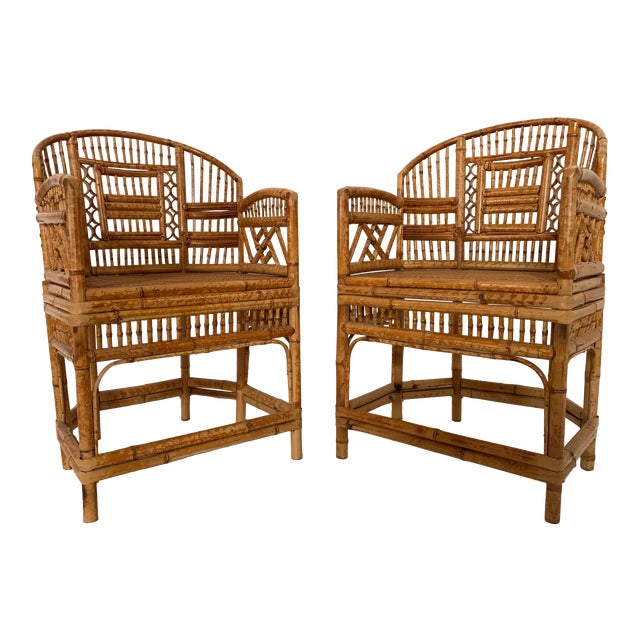 Pair of 1970s Bamboo Side Chairs For Sale