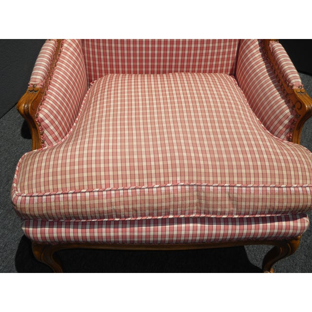 Vintage French Country Farmhouse Chic Red & White Plaid Wingback Chair - Image 10 of 11