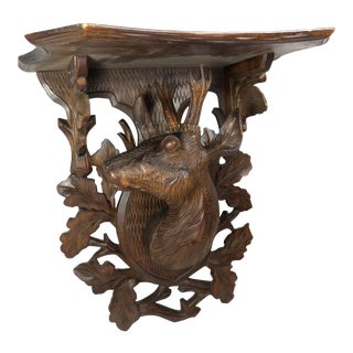 1910s Antique Carved Wood Black Forest Germany Wall Shelf For Sale