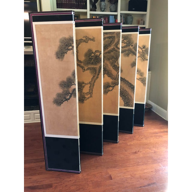 Asian Early 1900's Antique Japanese 10-Panel Painted Screen For Sale - Image 3 of 13