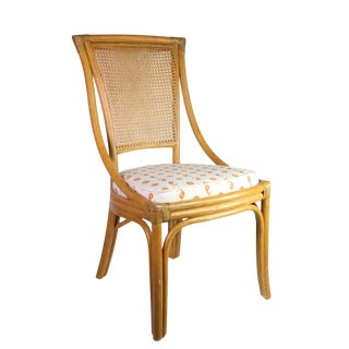 "Vintage Bamboo & Rattan Palecek Accent Chair With Kathryn M Ireland ""Casablanca"" Linen Seat For Sale"